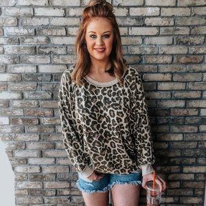 Free people oversized leopard print sweatshirt